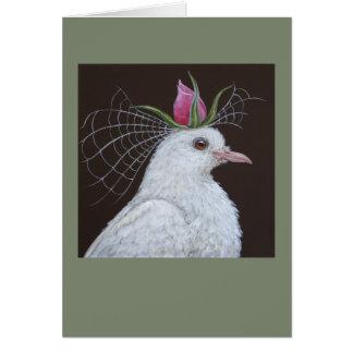 Tarjeta de felicitación de la novia de la paloma
