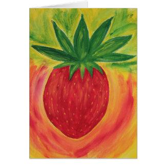 Tarjeta de felicitación de la pintura de la fresa
