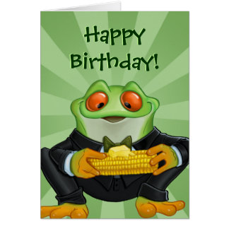 Tarjeta de felicitación de la rana del feliz cumpl