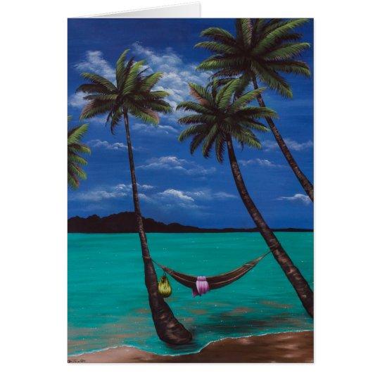 Tarjeta de felicitación de la siesta de la playa