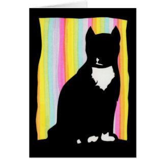 Tarjeta de felicitación de la silueta del gato