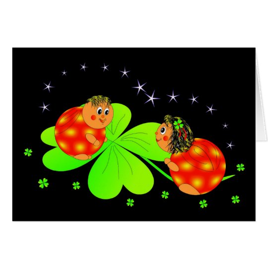 tarjeta de felicitación de las mariquitas y de los