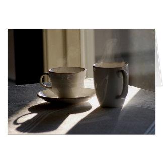Tarjeta de felicitación de las tazas de café de la