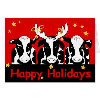 Tarjeta de felicitación de las vacas del navidad