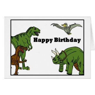 Tarjeta de felicitación de los dinosaurios del
