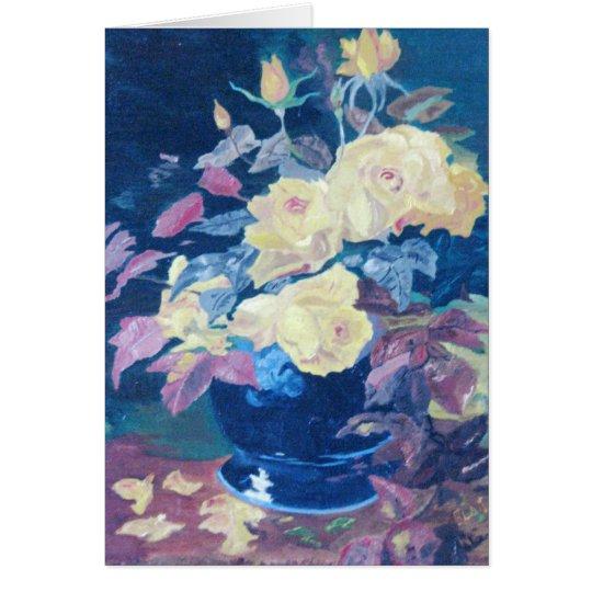 Tarjeta de felicitación de los rosas amarillos