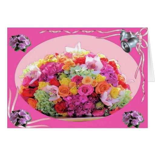 Tarjeta de felicitación de los rosas del boda