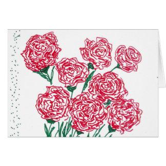 Tarjeta de felicitación de los rosas rojos