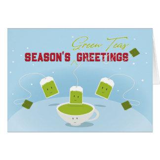 Tarjeta de felicitación de los tés verdes el | de