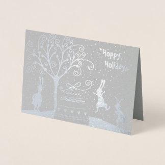 Tarjeta Con Relieve Metalizado Tarjeta de felicitación de lúpulo del navidad de