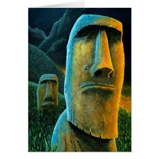 Tarjeta de felicitación de Moai Tiki de la isla de