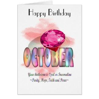 Tarjeta de felicitación de octubre Birthstone