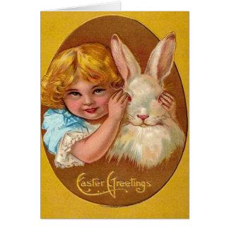 Tarjeta de felicitación de Pascua del conejito del