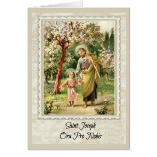 Tarjeta de felicitación de San José w/prayer