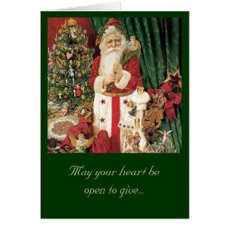 Tarjeta de felicitación de Santa del navidad del v