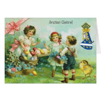 Tarjeta de felicitación de Sretan Uskrs Pascua del