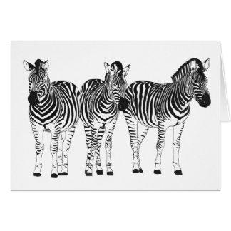 Tarjeta de felicitación de tres cebras