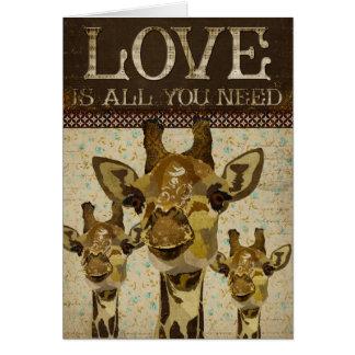 Tarjeta de felicitación del amor de las jirafas de