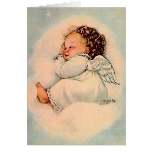 Tarjeta de felicitación del ángel del bebé del vin