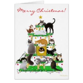 Tarjeta de felicitación del árbol del gato del