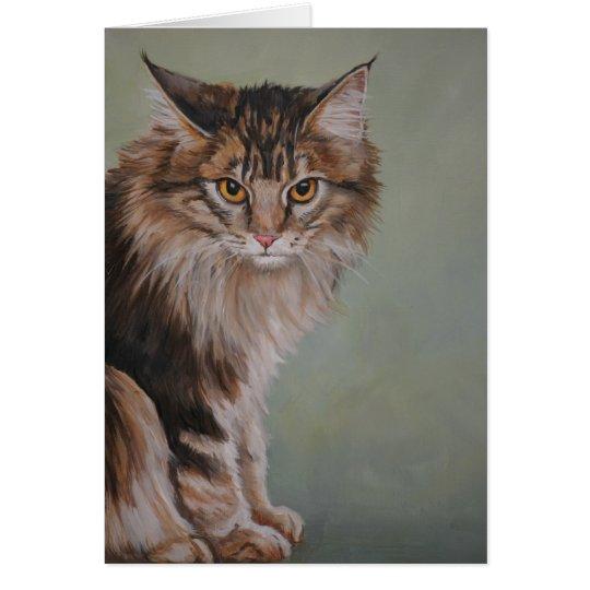 Tarjeta de felicitación del arte del gato de Coon