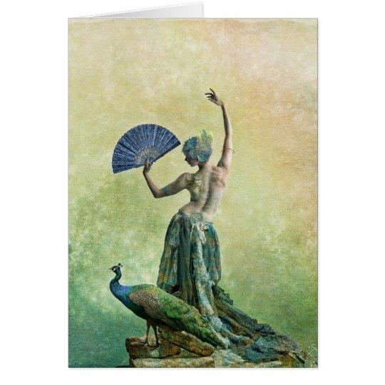 Tarjeta de felicitación del bailarín del pavo real