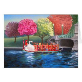 Tarjeta de felicitación del barco del cisne de Liz