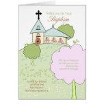 tarjeta de felicitación del bautismo con poca esce