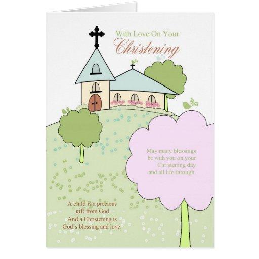 tarjeta de felicitación del bautizo con poca escen