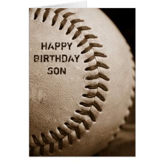 Tarjeta de felicitación del béisbol del hijo del