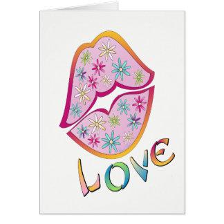 Tarjeta de felicitación del beso del flower power