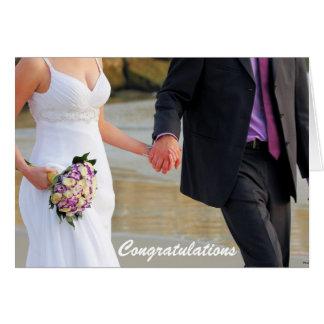 Tarjeta de felicitación del boda de novia y del