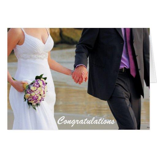 Tarjeta de felicitación del boda de novia y del no