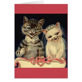 Tarjeta de felicitación del boda del gato del vint