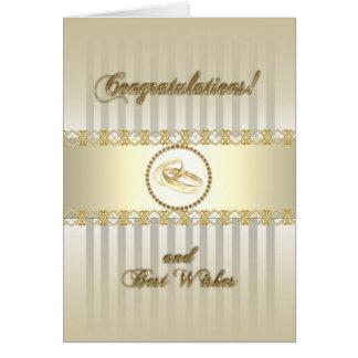 Tarjeta de felicitación del boda del oro del plati