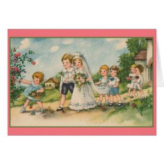 Tarjeta de felicitación del boda del vintage