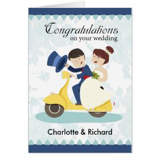 Tarjeta de felicitación del boda, par en