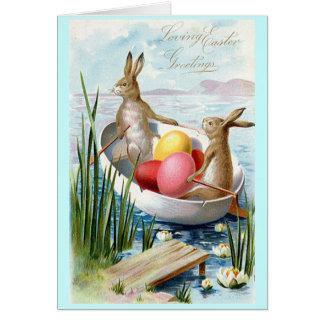 Tarjeta de felicitación del bote de remos de los