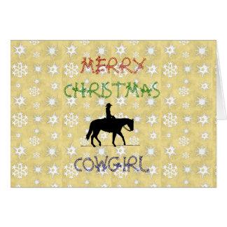 Tarjeta de felicitación del caballo de la vaquera