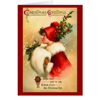 Tarjeta de felicitación del chica del navidad