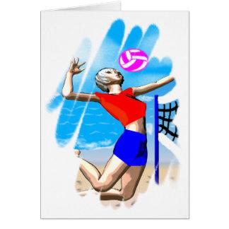 Tarjeta de felicitación del chica del voleibol de