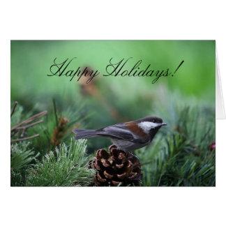 Tarjeta de felicitación del chickadee del navidad
