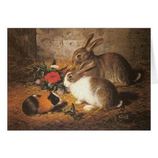 Tarjeta de felicitación del conejillo de Indias y