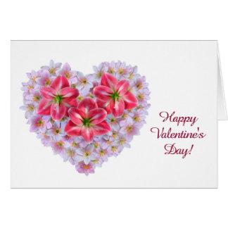 Tarjeta de felicitación del corazón de la flor del