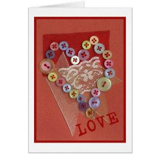 Tarjeta de felicitación del corazón del botón del
