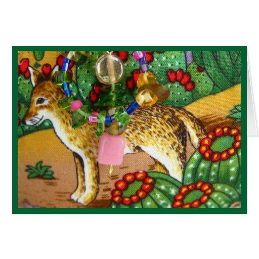 Tarjeta de felicitación del coyote, del cactus y d