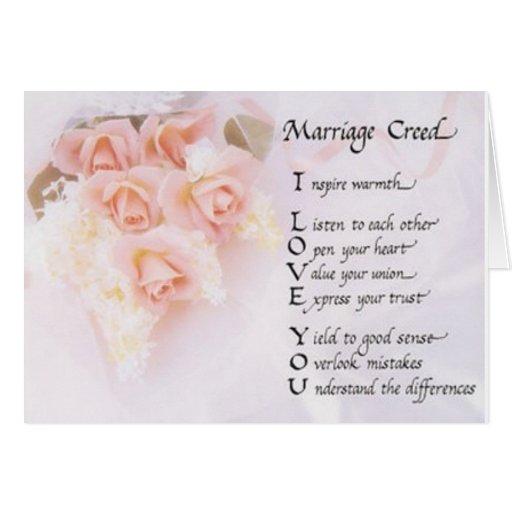 Tarjeta de felicitación del credo de la boda