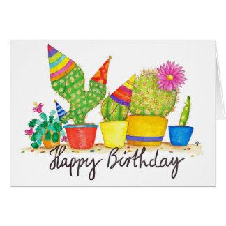 Tarjeta de felicitación del cumpleaños del cactus