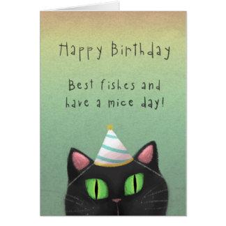 Tarjeta de felicitación del cumpleaños del gato