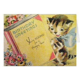 Tarjeta de felicitación del cumpleaños del gato de